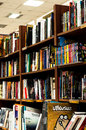 Shelves of a book store inside stored with many kind literature Royalty Free Stock Photography