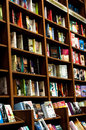 Shelves of a book store inside stored with many kind literature Stock Photography