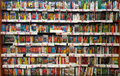 Shelves with books bookshelf in library many for sale location large shop in rome italy Stock Image