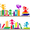Shelves with books and kids playing background for Stock Image