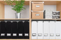 Shelves with boxes, folders and green plant Royalty Free Stock Photo