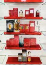 Shelves with Cartier exquisite perfume and eau de toilette Royalty Free Stock Photo