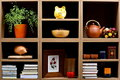 Title: Shelves with different objects