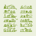 Shelves with ecology icons for yuor design Stock Photography