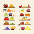 Shelves with fruits for your design Stock Photos