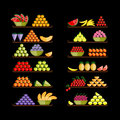 Shelves with fruits for your design Royalty Free Stock Images