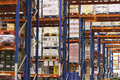 Shelves full of merchandise in warehouse view Royalty Free Stock Photography
