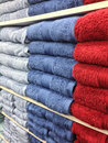 Shelves with multicolor bath towels Royalty Free Stock Image