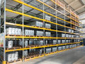 Shelving gravity for pallets in a modern factory Royalty Free Stock Photos