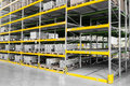 Shelving gravity for pallets in a modern factory Stock Photography