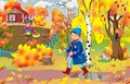 Children`s illustration for a book, newsletter, calendar, a boy walks with leaves in his hands
