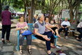 Shenzhen china citizens of leisure in the park on may baoan haihua there are many people Royalty Free Stock Image