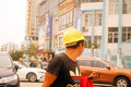 Shenzhen, China: construction workers