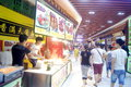 Shenzhen china delicious food street landscape luohu dongmen commercial there is a rich local snacks attracted many visitors taste Stock Photos