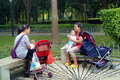 Shenzhen china the park of leisure for the elderly and children in october th fuyong phoenix square in women this is two young Royalty Free Stock Photography