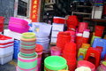 Shenzhen china plastic tableware products in july st xixiang market stacked together Stock Photos