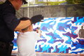 Shenzhen, China: police open day activities, citizens pistol firing experience