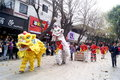Shenzhen china temple worship activities in march th xixiang pedestrian street pak tai people took to the streets or dancing lion Royalty Free Stock Photo