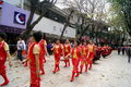 Shenzhen china temple worship activities in march th xixiang pedestrian street pak tai people took to the streets or dancing lion Stock Photos