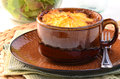 Shepherd s pie hot from the oven homemade with cheesy mashed potatoes in small casserole dish Stock Images