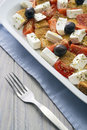 Shepherd salad mediterranean with cheese tomatoes olives bread dill Royalty Free Stock Images