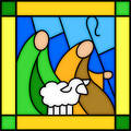 Shepherds in stained glass Stock Image