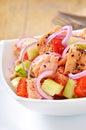 Sheppard salad with norwegian salmon Stock Photos