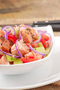 Sheppard salad with norwegian salmon Royalty Free Stock Image