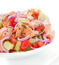Sheppard salad with norwegian salmon Stock Image