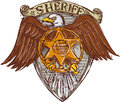 Sheriff Badge American Eagle Shield Drawing Royalty Free Stock Photo