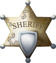 Sheriff badge sheriffs with a blank space for the title of and numbers isolated on white background Royalty Free Stock Photo