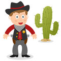 Sheriff with cactus a cartoon cowboy a isolated on white background Royalty Free Stock Photos
