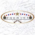 Sheriff old badge and firearms illustration on white background Stock Images