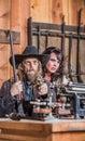 Sheriff points gun with frau Stockbilder