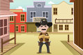 Sheriff standing on an old western town Royalty Free Stock Images