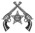 Sheriff Star Badge and Crossed Pistols