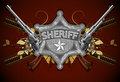 Sheriff star with guns and ornate elements this illustration may be useful as designer work Stock Photo