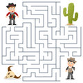 Sheriff wanted maze for kids and cowboys game children help the find the way to capture the cowboy eps file available Stock Photos