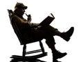 Sherlock holmes reading silhouette Royalty Free Stock Photo