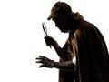 Sherlock holmes silhouette in studio on white background Royalty Free Stock Photo