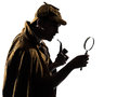 Sherlock holmes silhouette in studio on white background Stock Photography