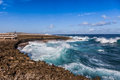 Shete boka curacao crashing waves at national park Stock Photo