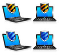 Shield antivirus laptop 3D and 2D Stock Photo
