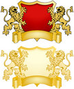 Shield and Banner with Lions Royalty Free Stock Photo