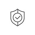 Shield with check mark line icon, outline vector sign