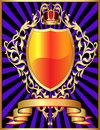 Shield with corona and gold pattern Royalty Free Stock Images