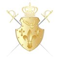 Shield crown and two swords against the cold steel the the illustration on a white background Stock Image