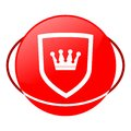 Shield crown vector illustration, Red icon