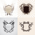 Shield decorative ornament set Stock Images