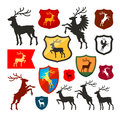 Shield with deer, reindeer, stag vector logo. Coat of arms, heraldry set icons